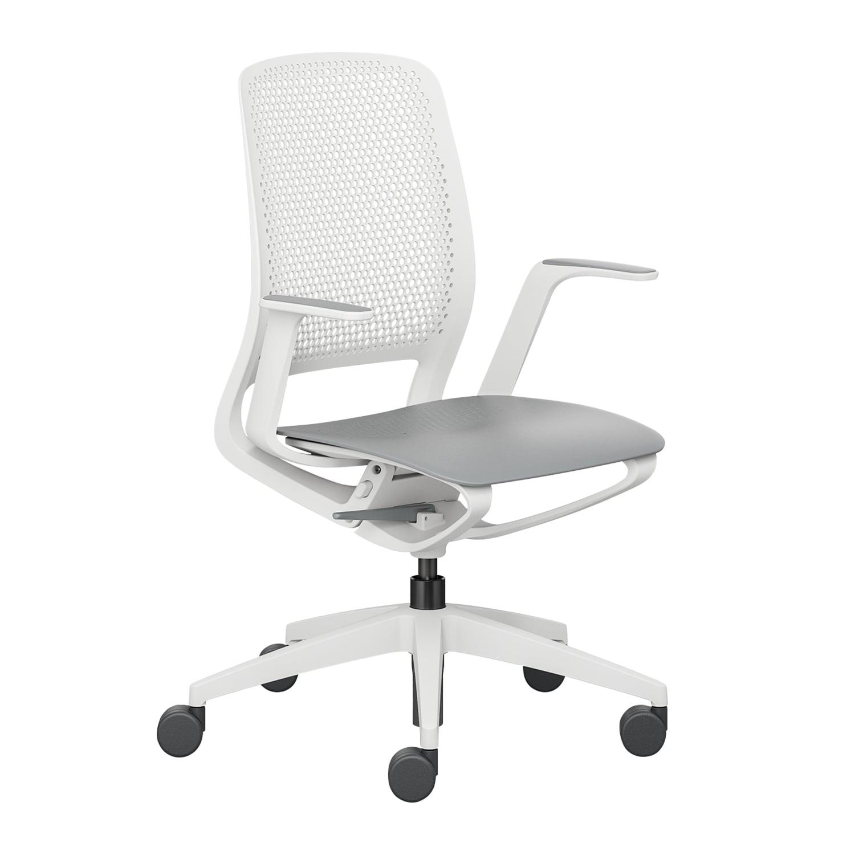 se:motion Lichtgrau, Mit Armlehnen, Sitz-und Rückenpolster, Ohne